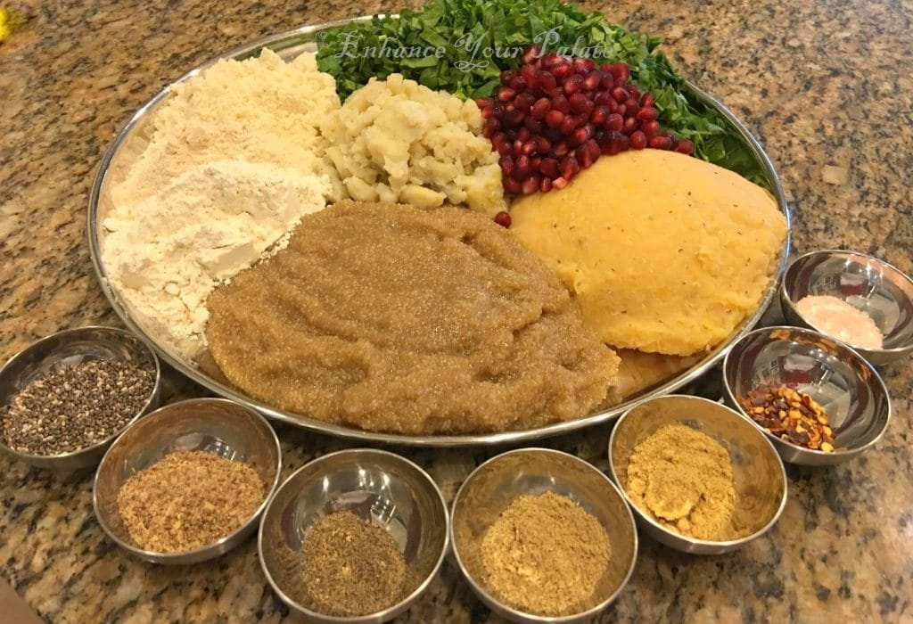 cooked lentils and other ingredients for making lentil patties