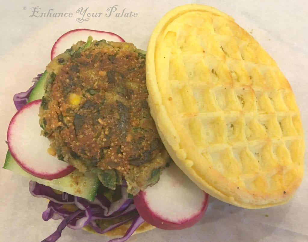 2016-8-21 Amaranth Lentil Patties Waffle Burger Featured