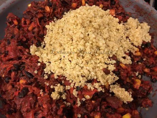 Adding quinoa to make mix for quinoa patties