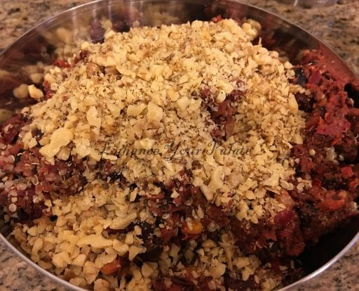 Adding roasted and crushed walnuts to quinoa patties mix
