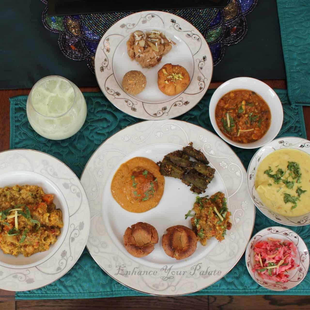 dal bati churma plate setting with other popular accompaniments