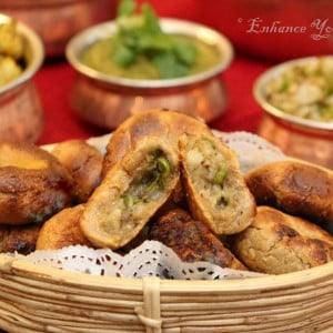 Rajasthani Bati with stuffing served in a basket