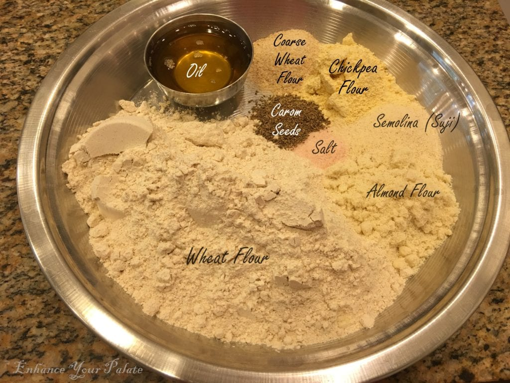 different flour ingredients to enhance bati