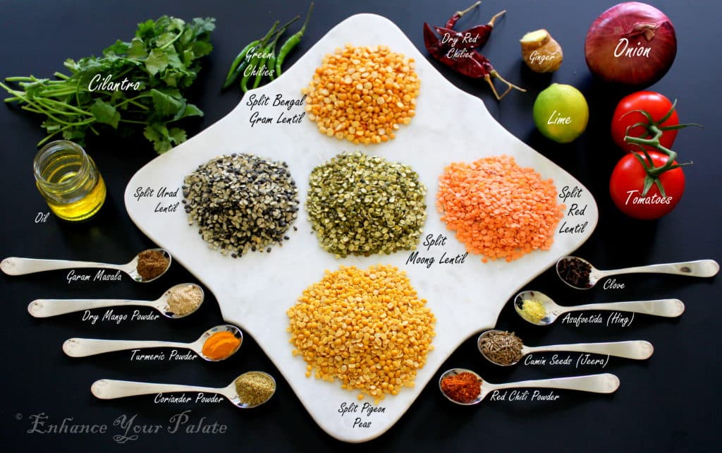 Ingredients for panchmel dal