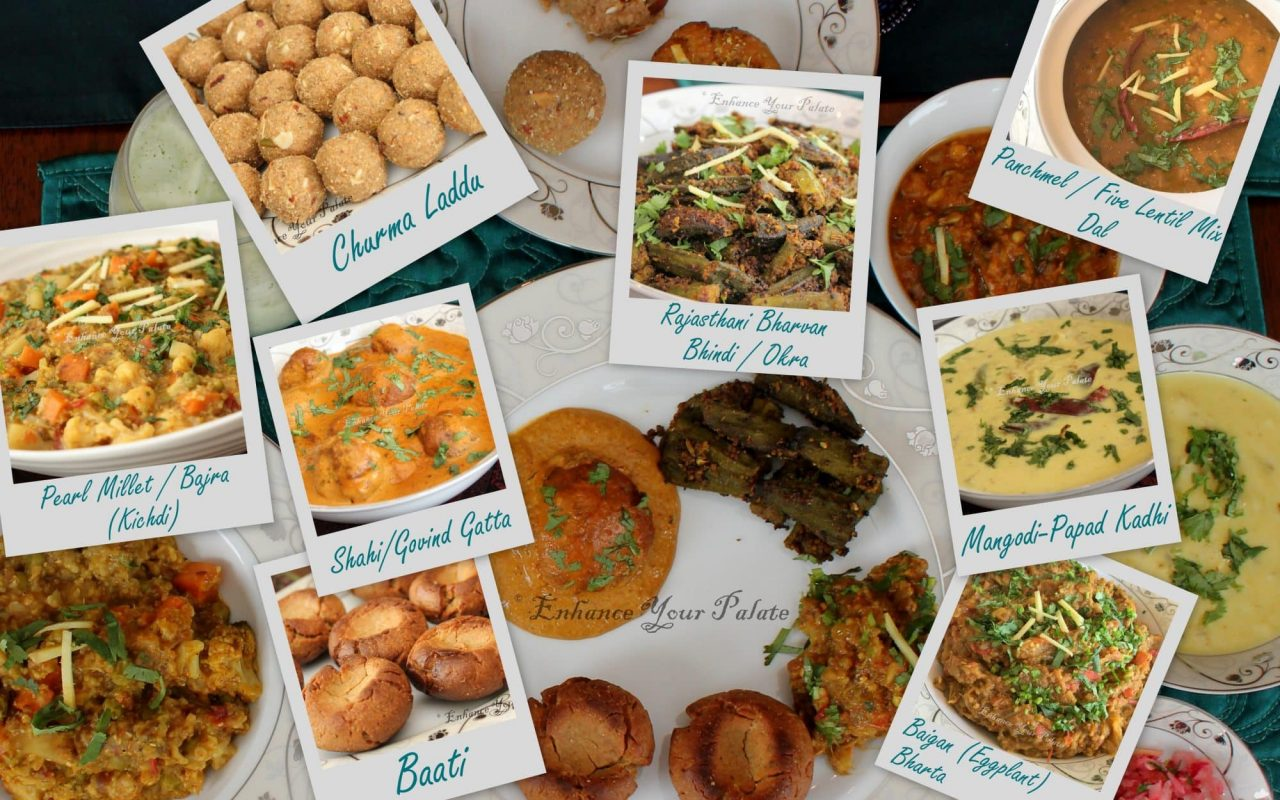 Rajasthani Thali featuring Dal Bati Churma and other rajasthani delicacies