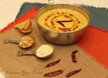 Green Mango Yogurt Curry with Lentil Nuggets Pappudum - Mangodi Papad Kadhi with Keri Enhance Your Palate