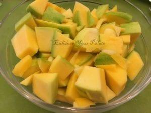 Green Mango Yogurt Curry with Lentil Nuggets Pappudum - Mangodi Papad Kadhi with Keri Enhance Your Palate