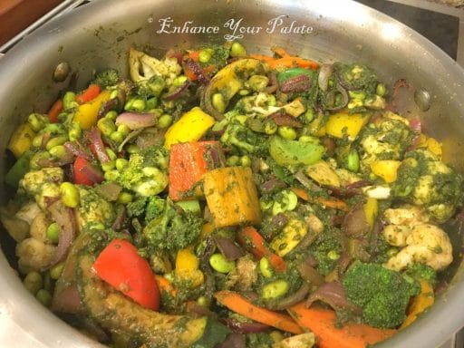 Vegetables being sautéed before addition of quinoa