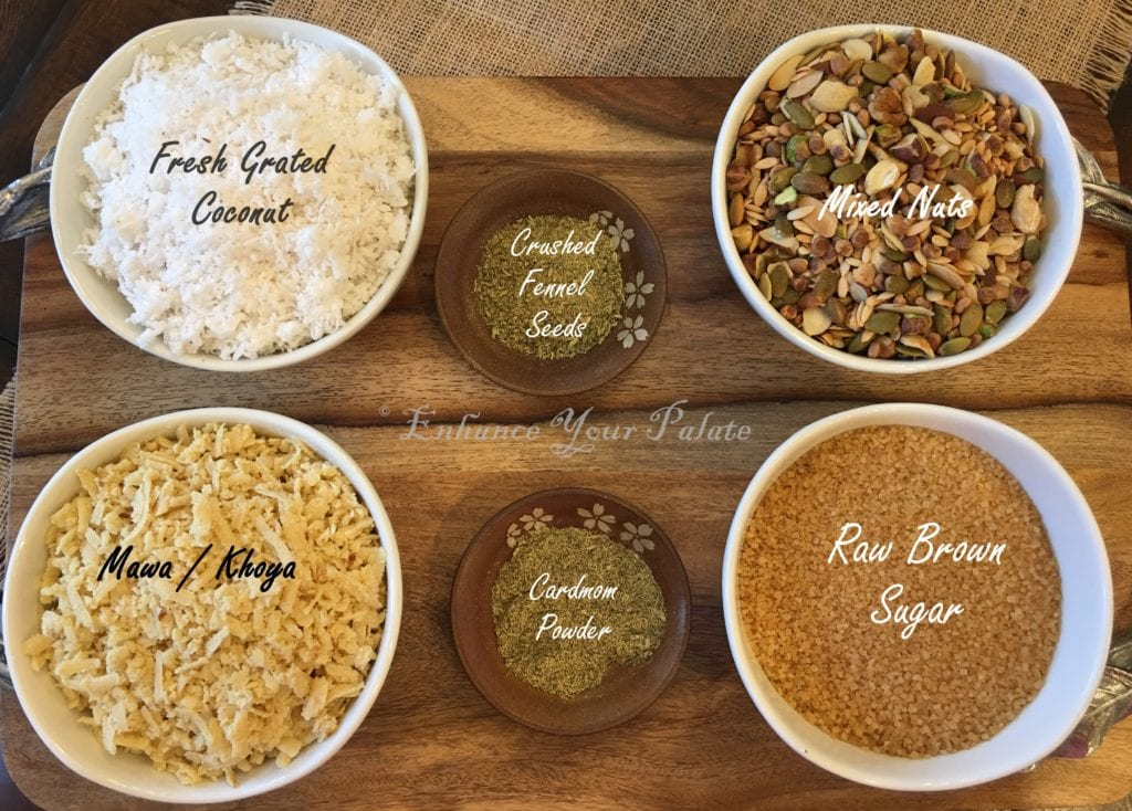 Fennel flavored coconut mixed nut fudge ingredients