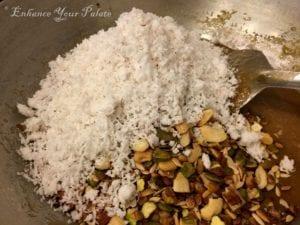 Fennel flavored Coconut Mixed Nut Fudge Indian Sweet/Dessert