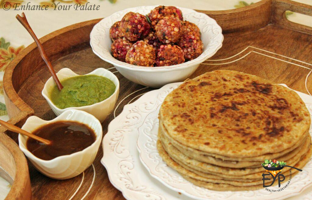 Puran Poli served with Sabutdana vada and chutneys