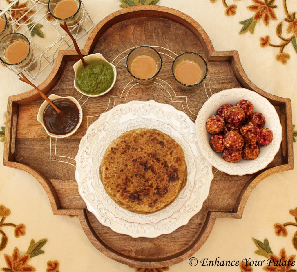 Puran Poli served with sabutdana vada and chutney
