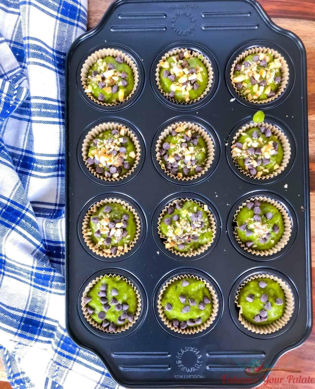 Banana Oats Spinach Muffins - Gluten Free Vegan Eggless