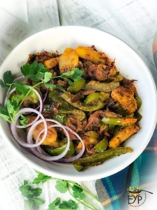 Aloo Shimla Mirch - Bell Pepper Potatoes Stir-Fry
