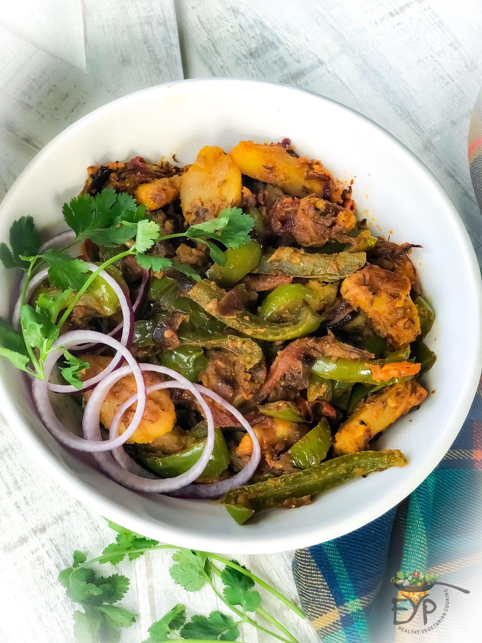 Aloo Shimla Mirch - Bell Pepper Potatoes Stir-Fry from EYP - Aloo Shimla Mirch or Bell Pepper Potatoes Stir-Fry is a very popular Day-to-Day recipe, which is very simple and quick to make but still tastes great.