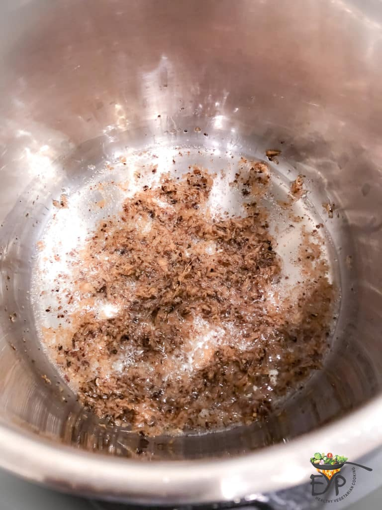 Spices being sauted for golden oats recipe