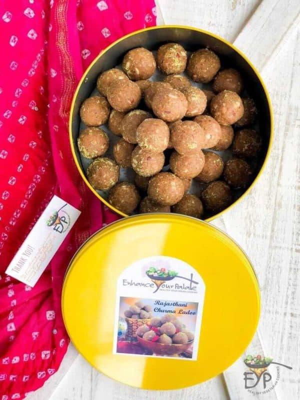 Churma Ladoo for sale in a tin box