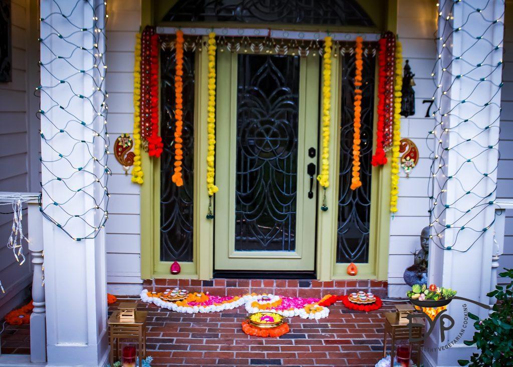 Festive Diwali Home Entrance Decor using flowers, lamps, diyas