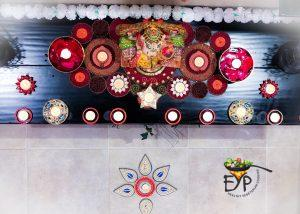 Festive Indian Ethnic Diwali Decor for Entrance Foyer with Ganesh Idol