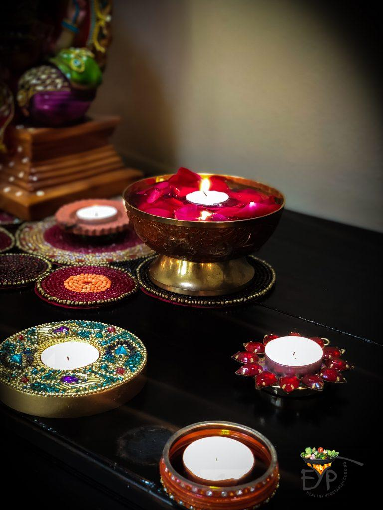 Festive Indian Ethnic Diwali Decor for Entrance Foyer with Ganesh Idol