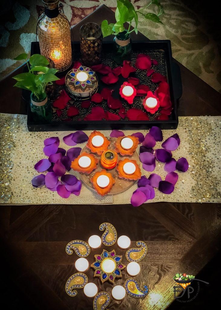 Ethnic Indian Festive Diwali Home Décor for Living Room Coffee Table with Diyas, trays, flowers and Candles