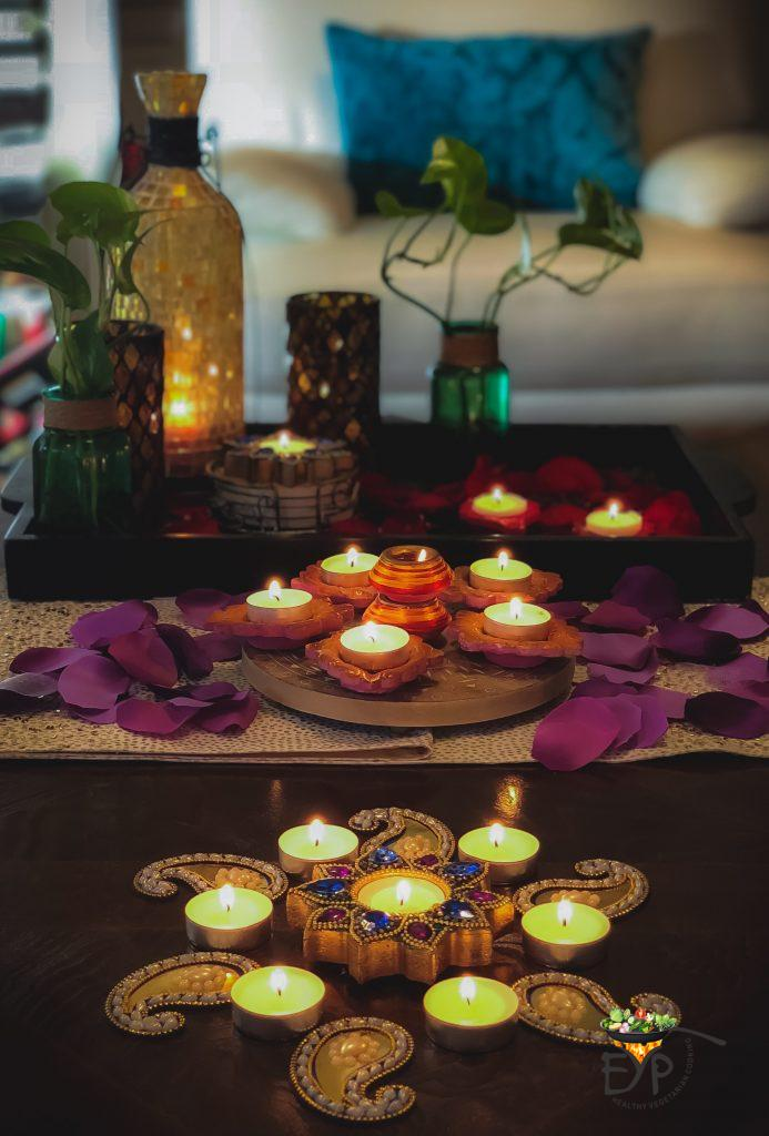 Festive Indian Ethnic Diwali Decor for Living Room Coffee Table with Diyas, trays, flowers and Candles