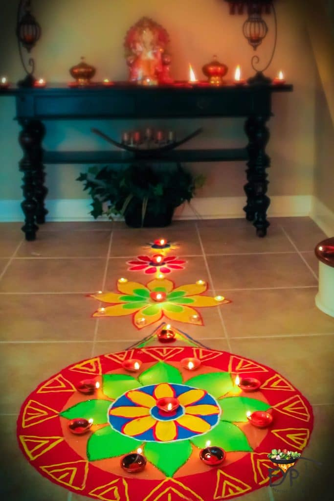 Festive Indian Ethnic Diwali Decor for Entrance Foyer with Rangoli