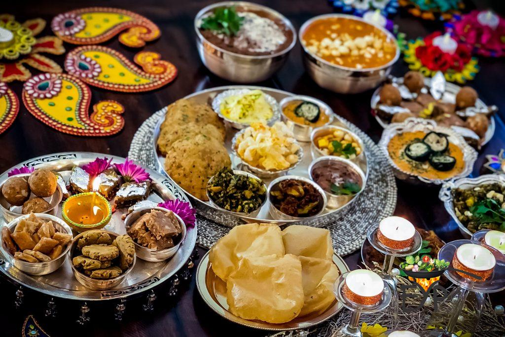Ethnic Indian Festive Diwali Food Setting on Dinning Table