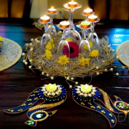 Ethnic Indian Festive Diwali Food Setting on Dinning Table - Enhance Your Palate