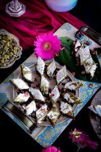 Silver Foil Decoration Pistachio Gulkand Barfi Enahnce Your Palate