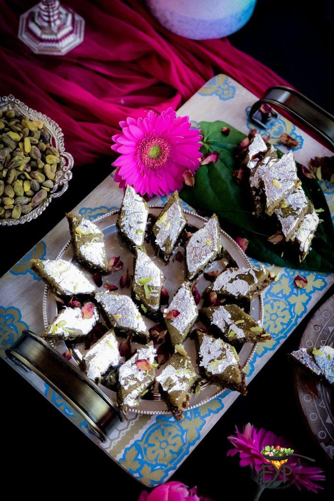 Silver Foil Decoration Pistachio Gulkand Barfi Enahnce Your Palate
