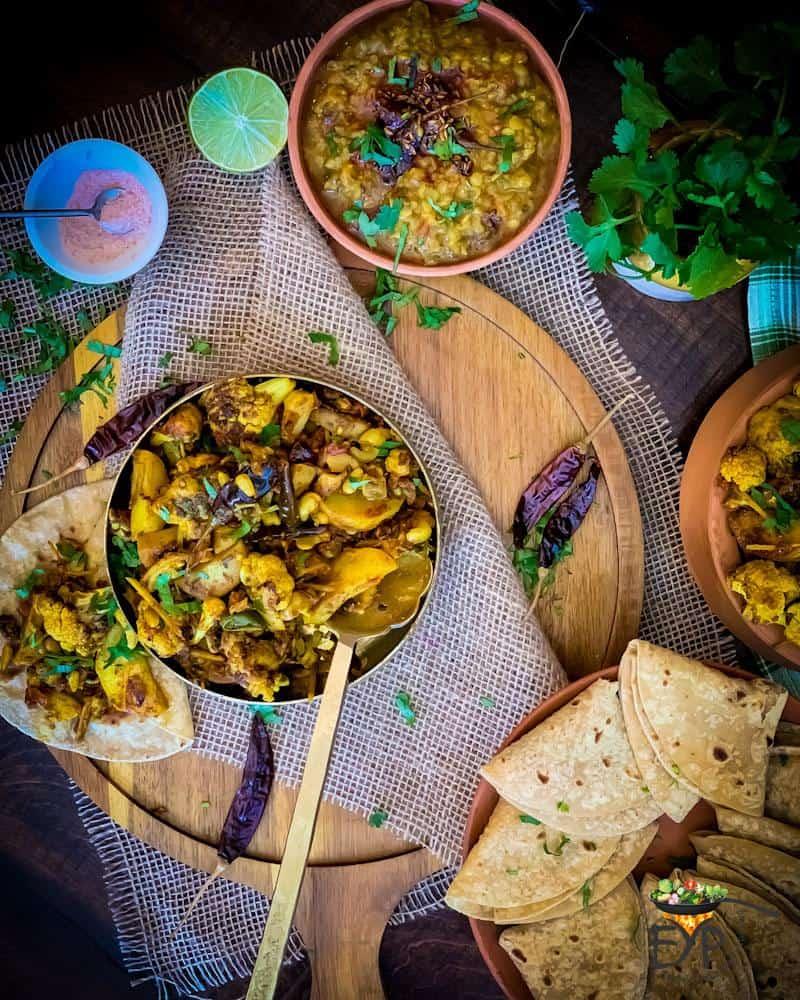 Aloo gobi served with roti
