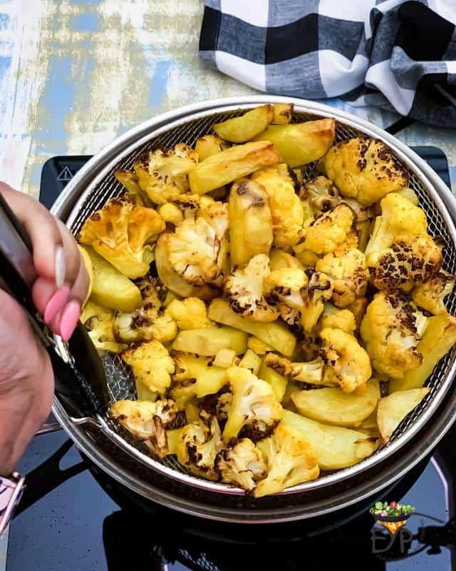 charred potatoes and cauiflowers