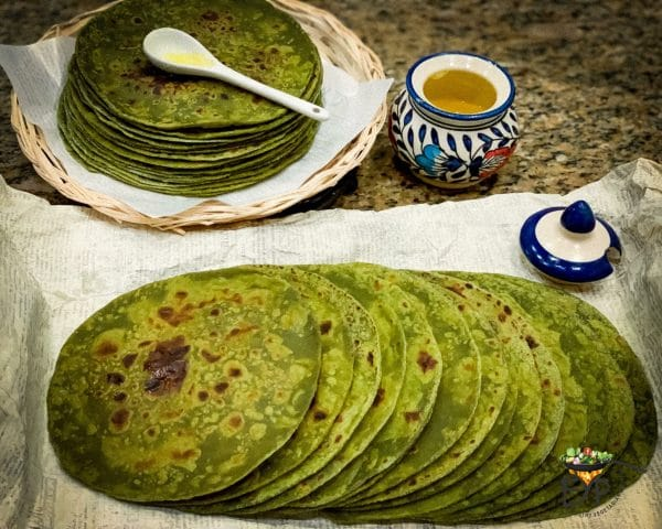 cooked stack of avocado chapatis