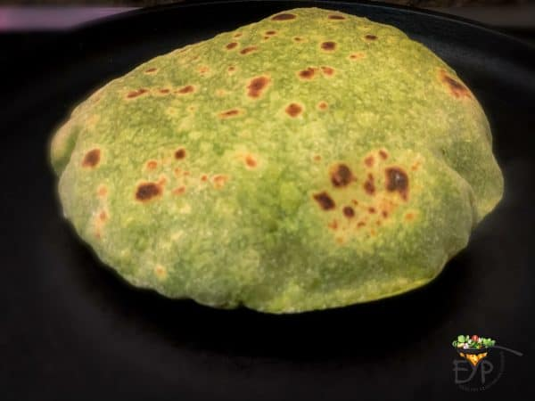 chapati after flipping in cooking process