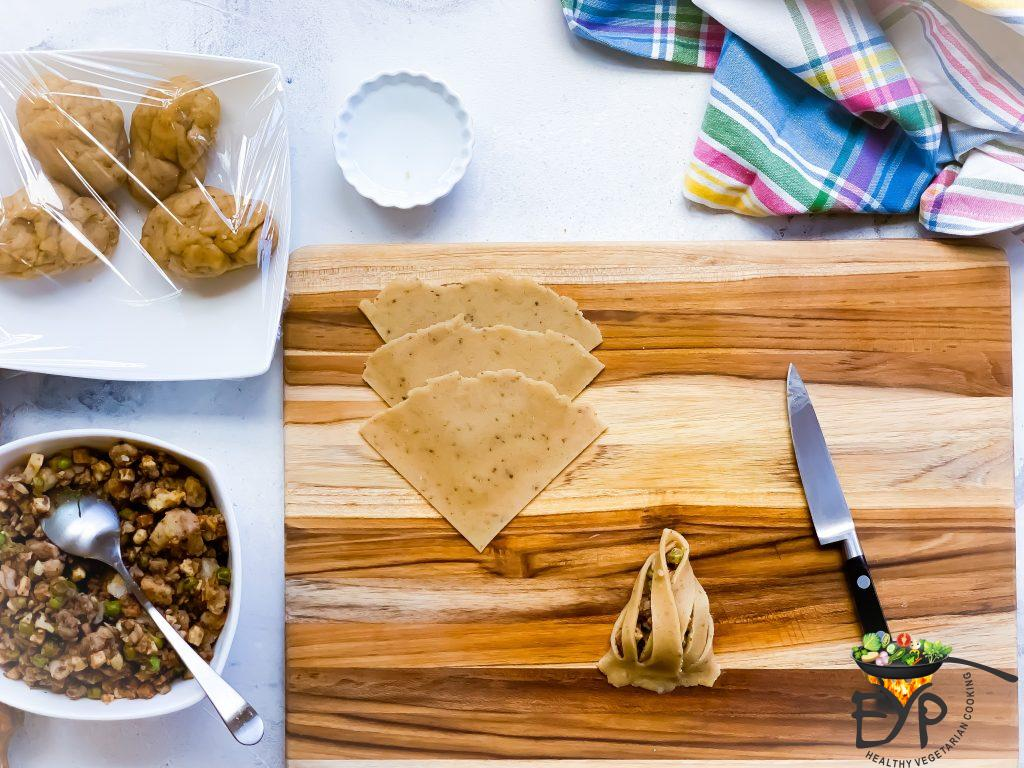 Process for assembling a samosa for baked samosa recipe.