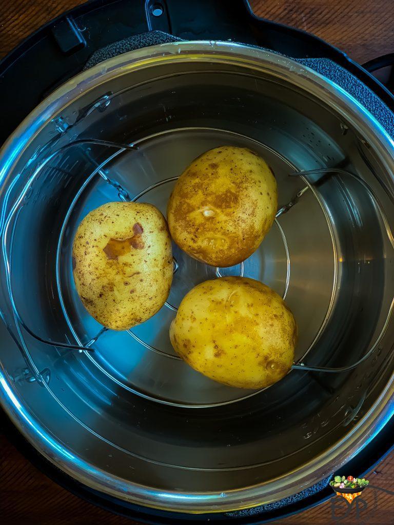 Potato ready to boil in am instant pot pan.