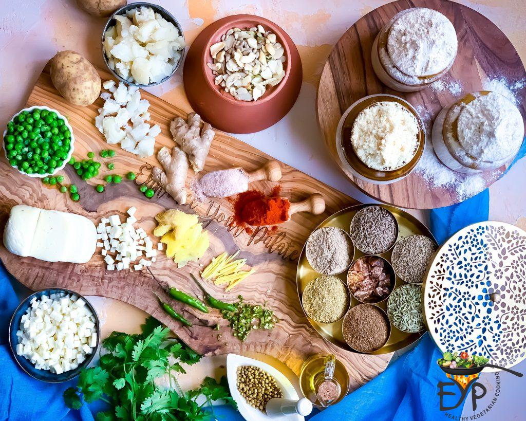 Ingredients for enhance baked samosa recipe beautifully arranges on a custom board