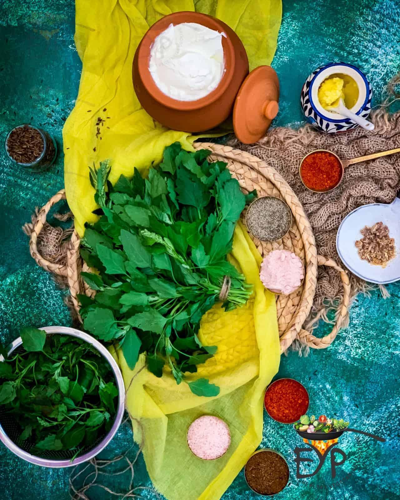 Ingredients for bathua ka raita