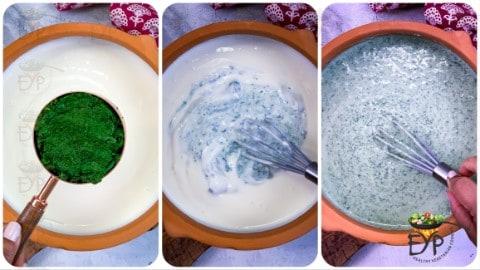 Pounded bathua being added to whisked yogurt to make bathua raita