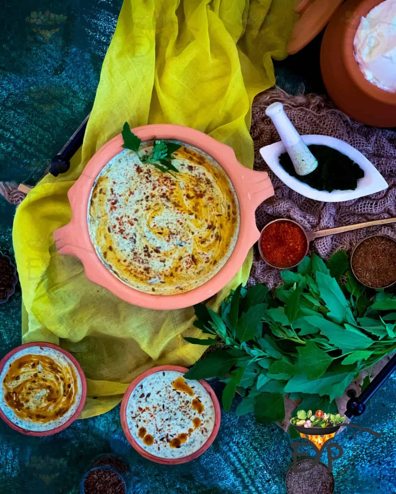 Bathua Ka Raita served in an artisan clay bowl; shown with spices