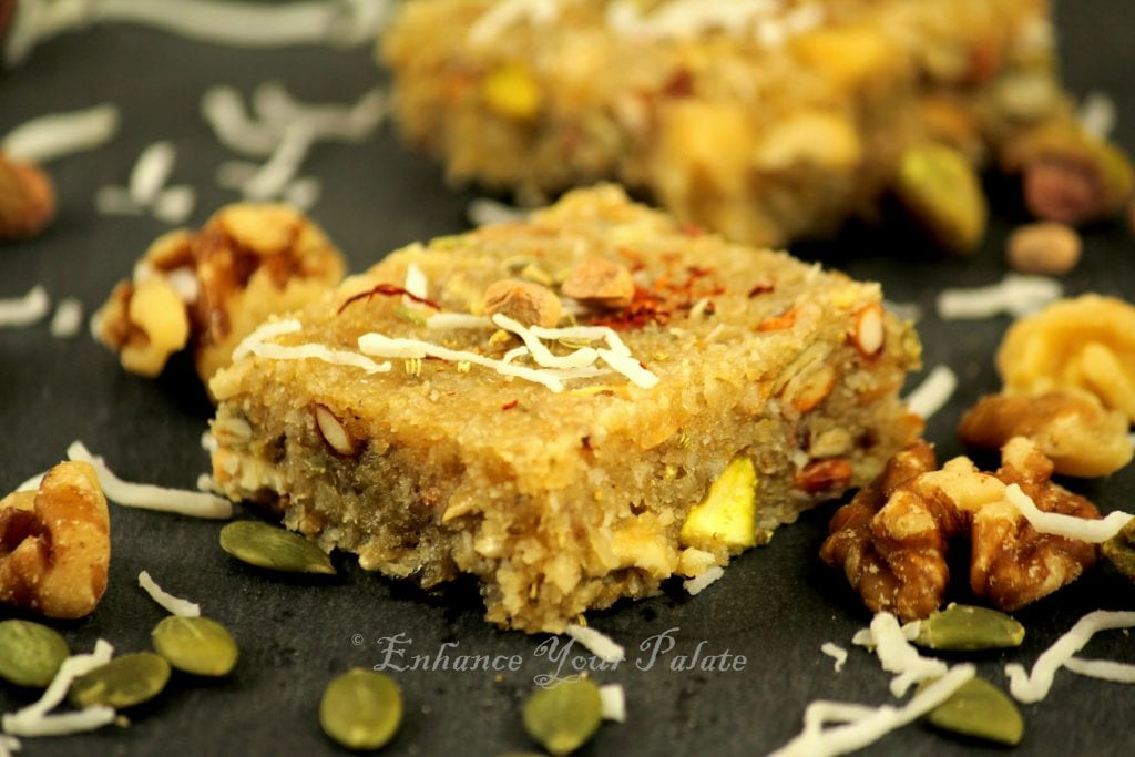 Coconut mixed nut fudge Indian sweet / desert
