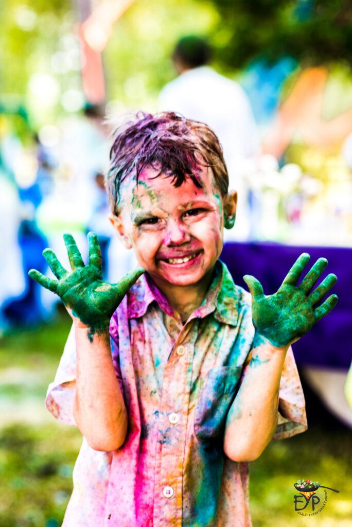 Kid playing holi