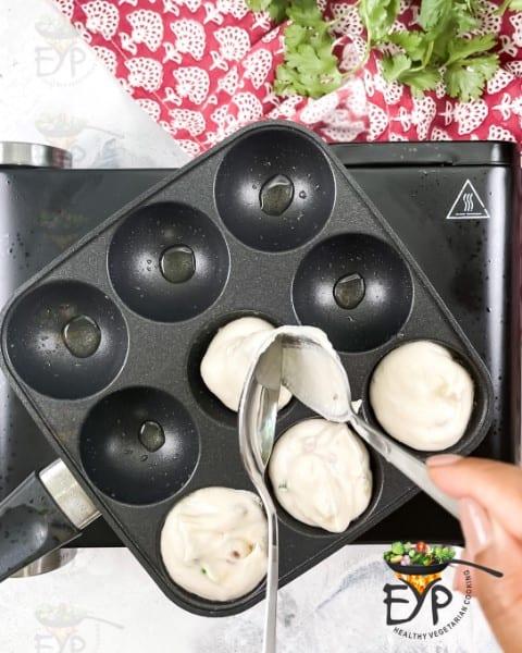 Shallow frying vada batter in aebleskiver pan