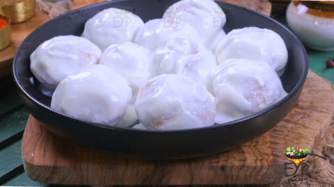 Dahi vada transferred to a serving bowl