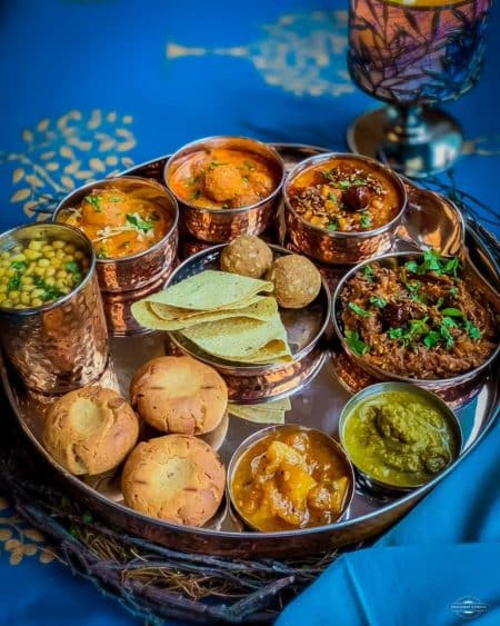 Rajasthani Thali with Dal Bati Churma and other delicacies