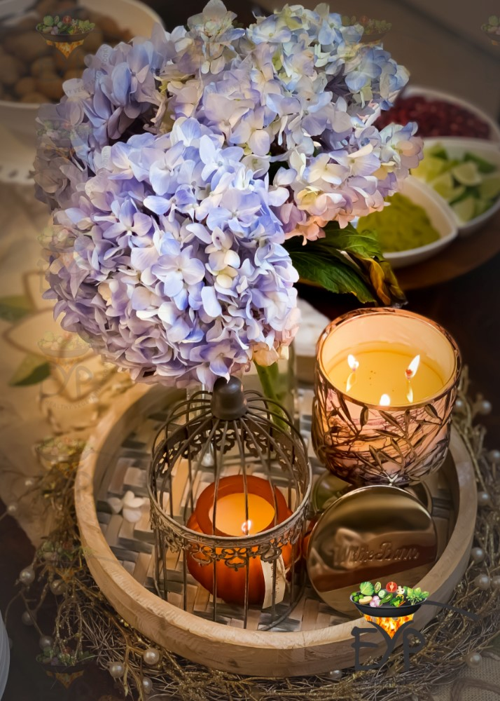 Centerpiece with flowers and candles for Thanksgiving Table Decor