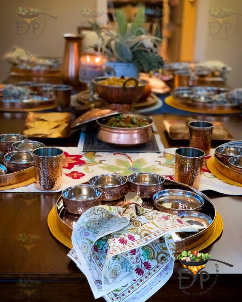 Copper dinner set used for thanksgiving table decor