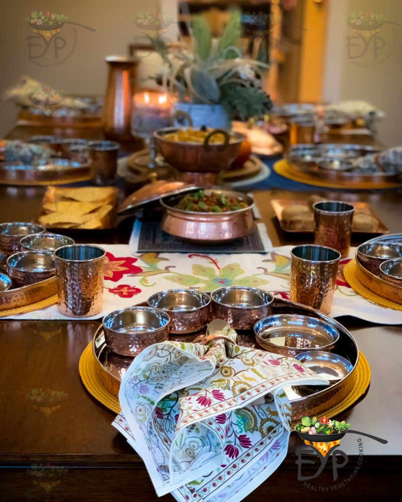 Thanksgiving Table Decor with Copperware and accessories.