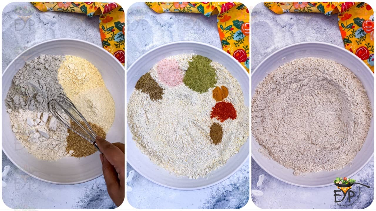Spices being mixed with flours